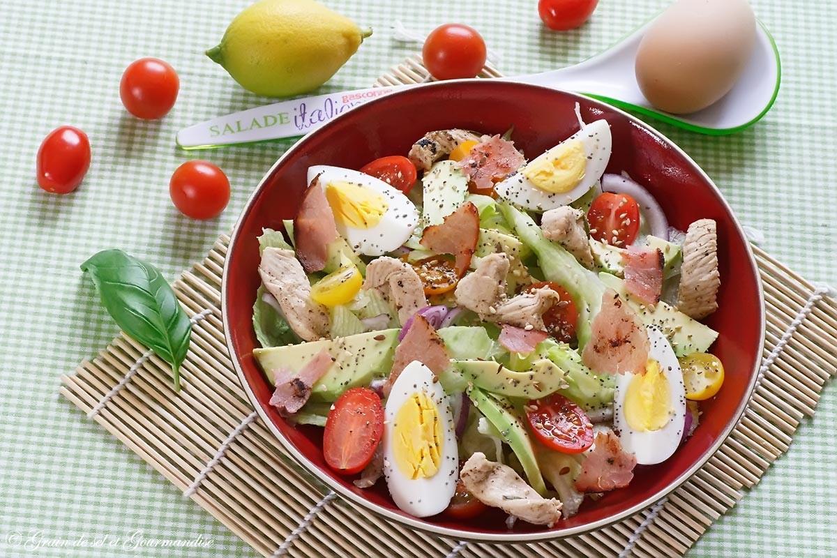 Salade de poulet, sauce moutarde-miel