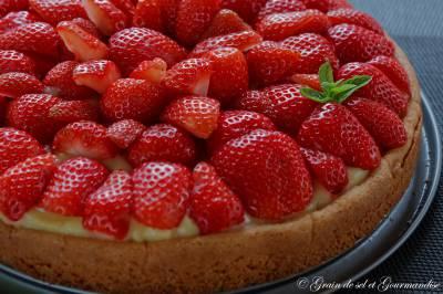Tarte aux fraises sur sablé breton