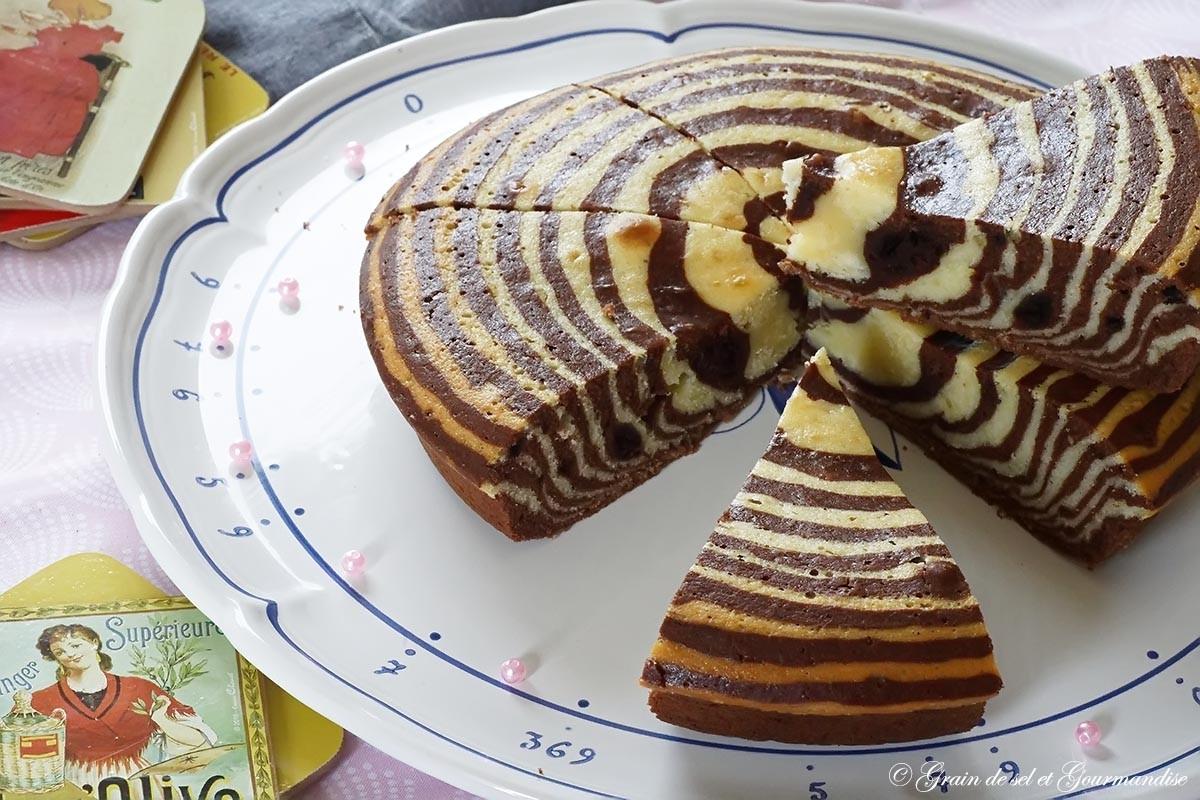 Zébra cake ou cake zébré - gâteau marbré